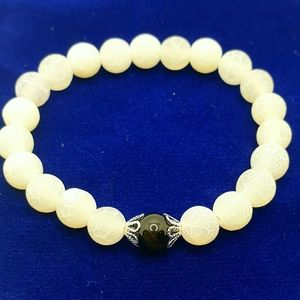 New! Black & white frosted white natural agate